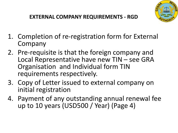 EXTERNAL COMPANY REQUIREMENTS - RGD