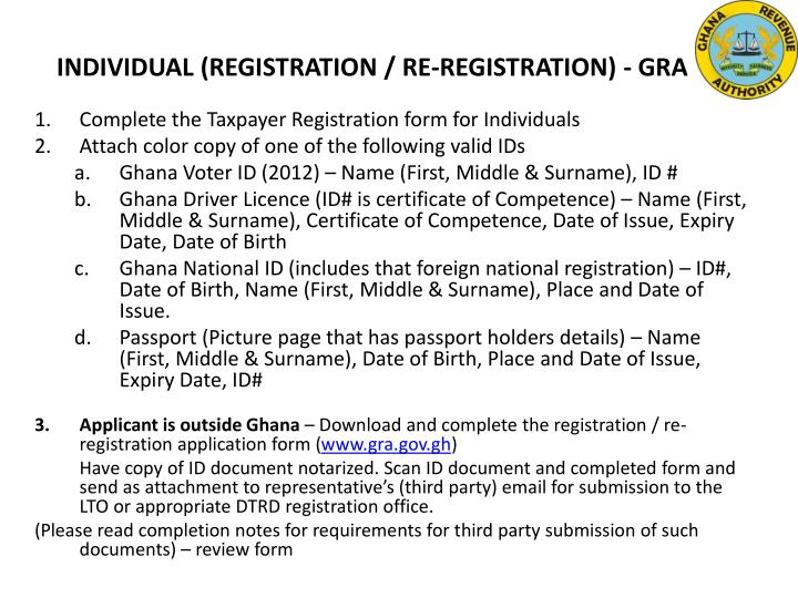 INDIVIDUAL (REGISTRATION / RE-REGISTRATION) - GRA