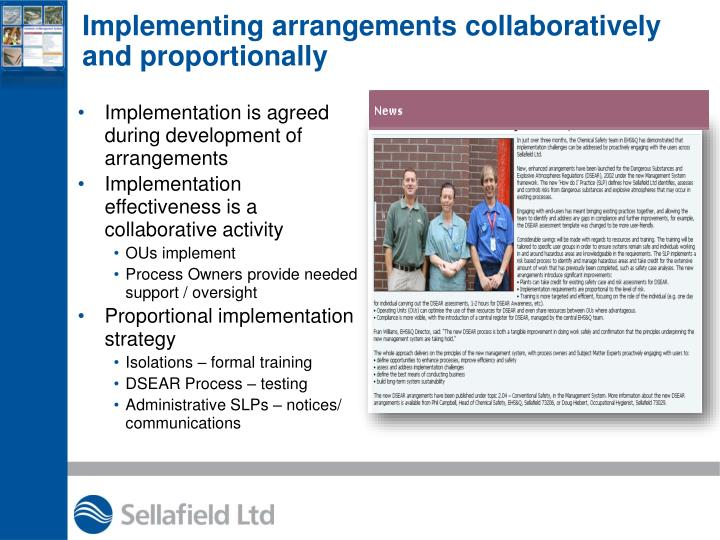 Implementing arrangements collaboratively and proportionally