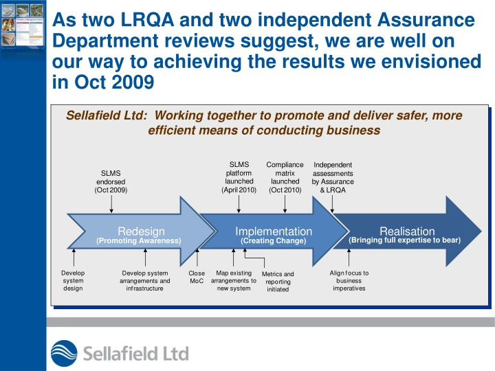 As two LRQA and two independent Assurance Department reviews suggest, we are well on our way to achieving the results we envisioned in Oct 2009