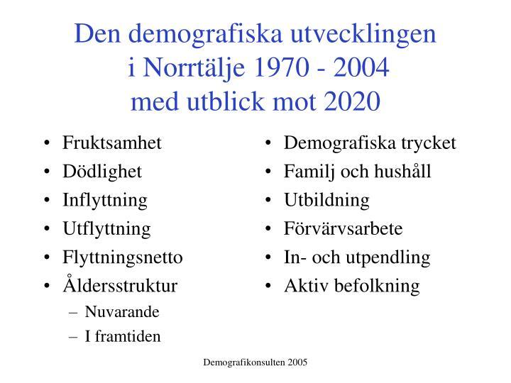 Den demografiska utvecklingen i norrt lje 1970 2004 med utblick mot 20201