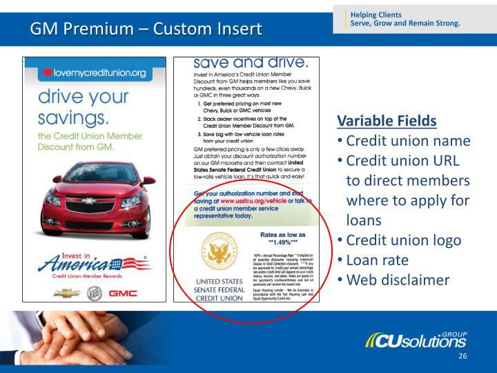 GM Premium – Custom Insert