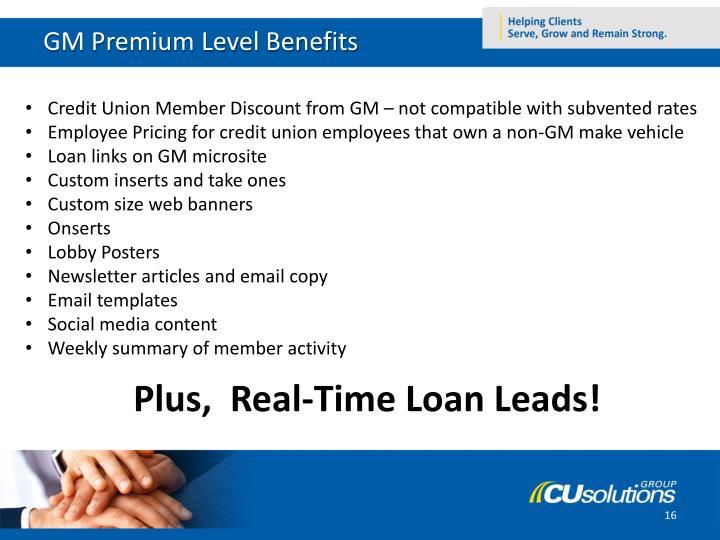 GM Premium Level Benefits