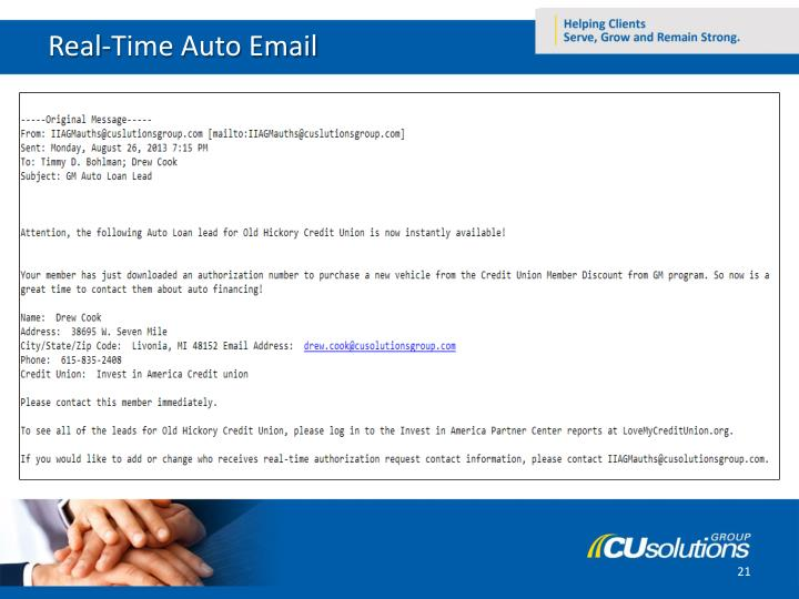 Real-Time Auto Email