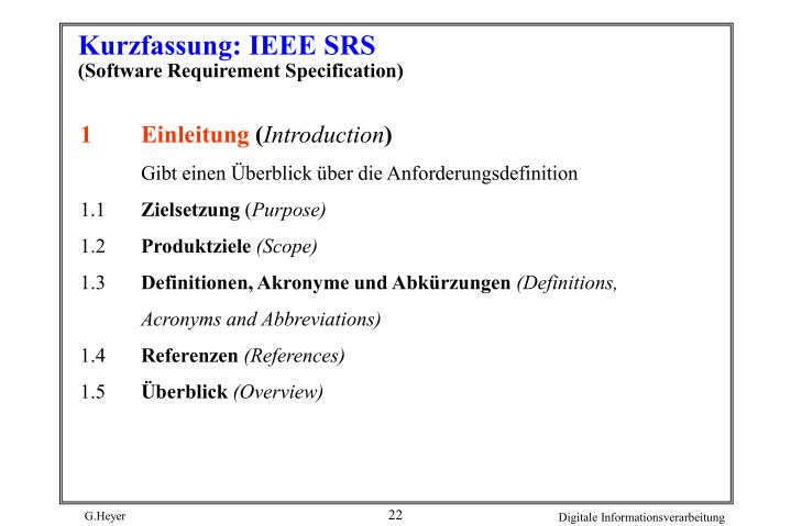 Kurzfassung: IEEE SRS