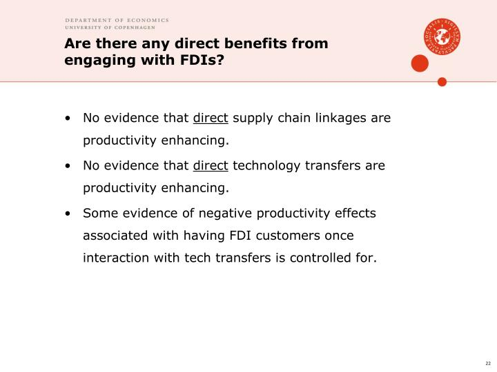 Are there any direct benefits from engaging with FDIs?