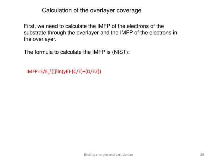 Calculation of the overlayer coverage