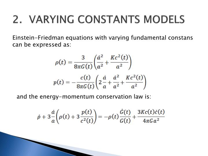 2.VARYING CONSTANTS MODELS