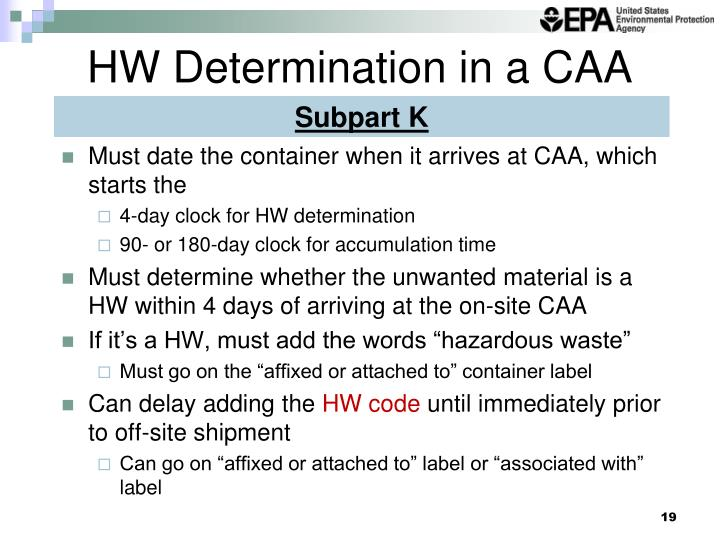 HW Determination in a CAA