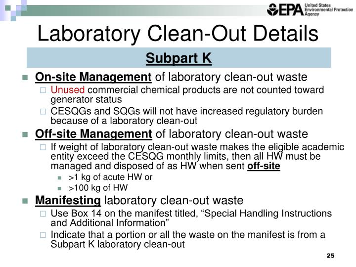 Laboratory Clean-Out Details