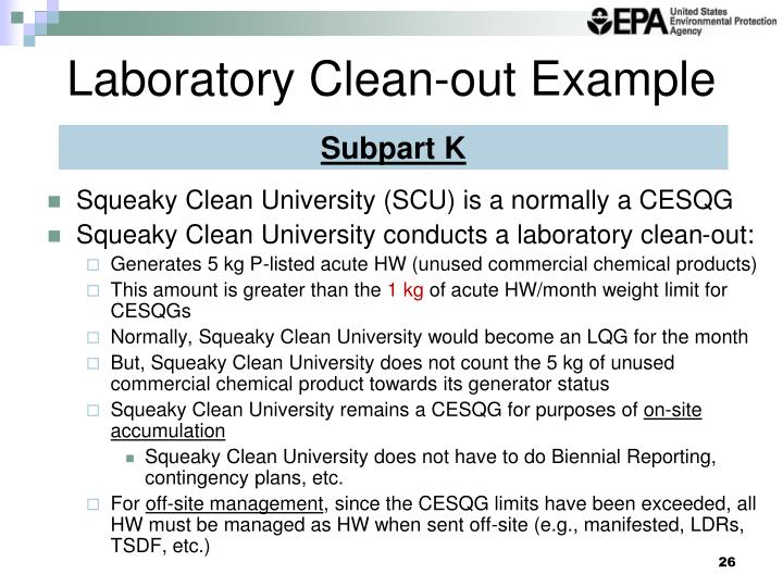 Laboratory Clean-out Example