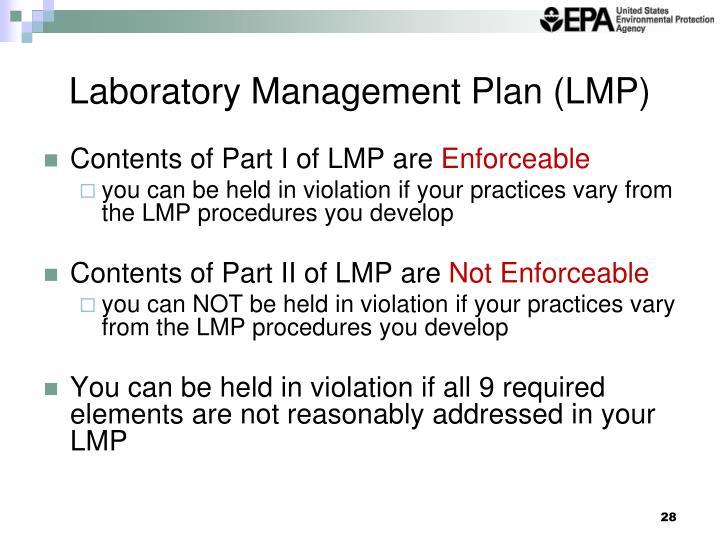Laboratory Management Plan (LMP)