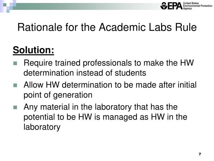 Rationale for the Academic Labs Rule