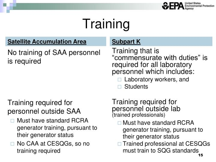 No training of SAA personnel is required