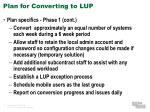 plan for converting to lup3