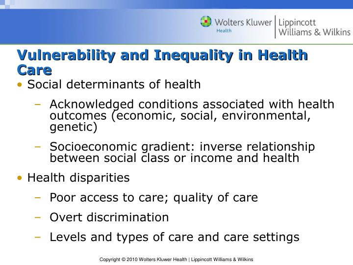 Vulnerability and Inequality in Health Care