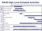 waas high level schedule activities