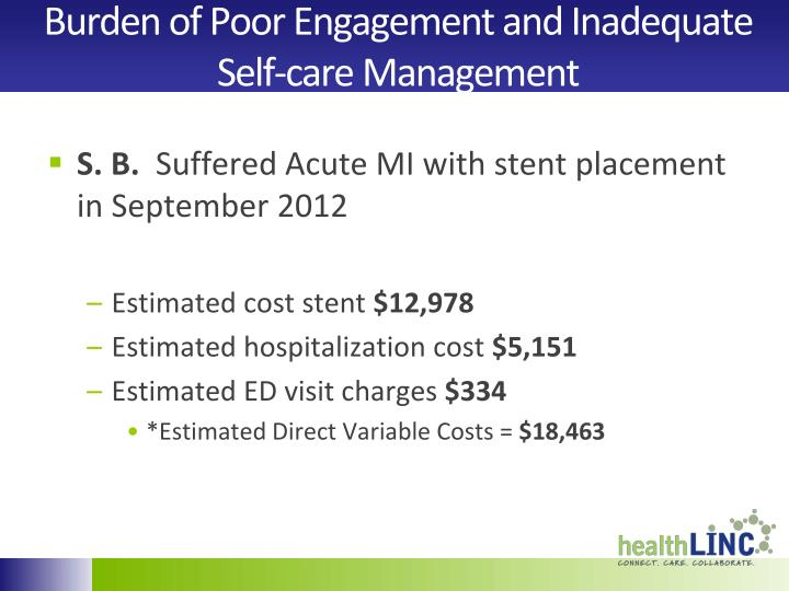 Burden of Poor Engagement and Inadequate Self-care Management