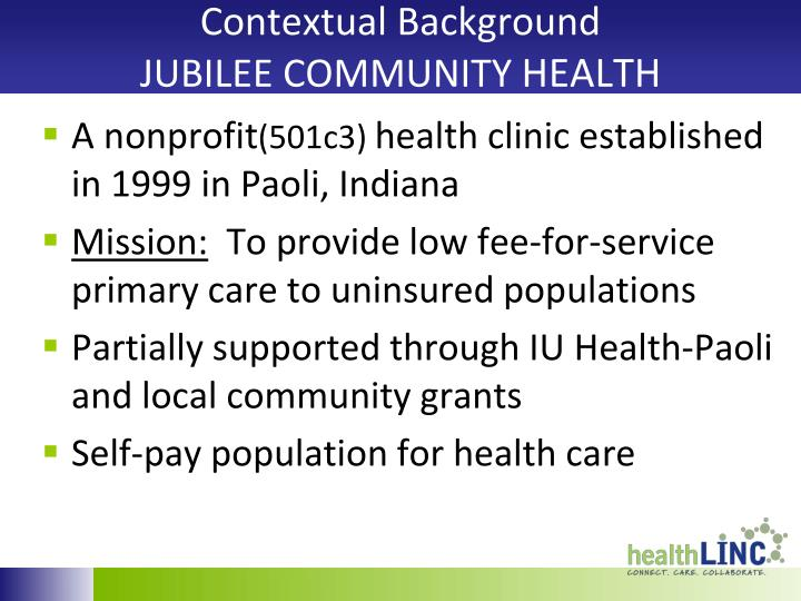 Contextual background jubilee community health