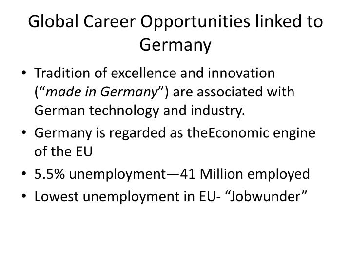 Global Career Opportunities linked to  Germany