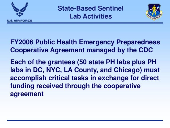 State-Based Sentinel Lab Activities