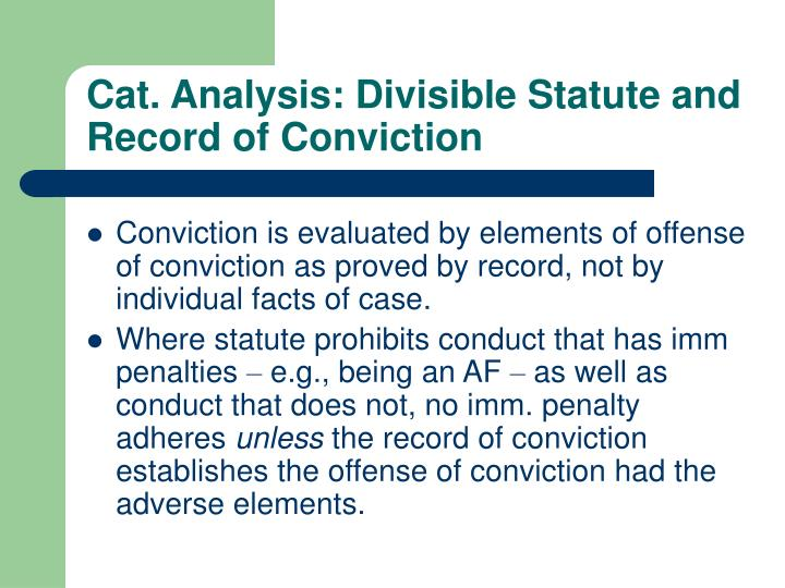 Cat. Analysis: Divisible Statute and