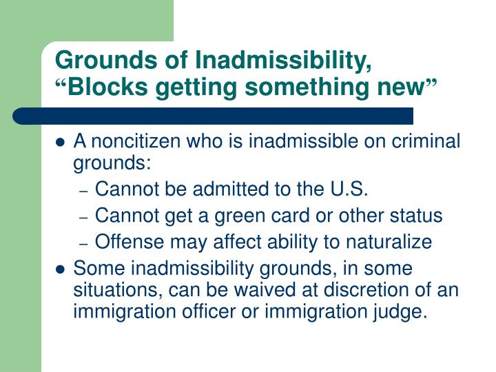 Grounds of Inadmissibility,