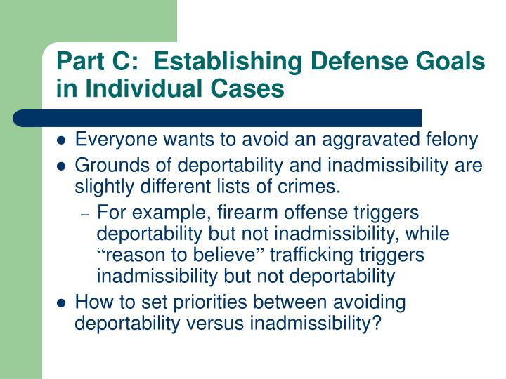 Part C:  Establishing Defense Goals in Individual Cases