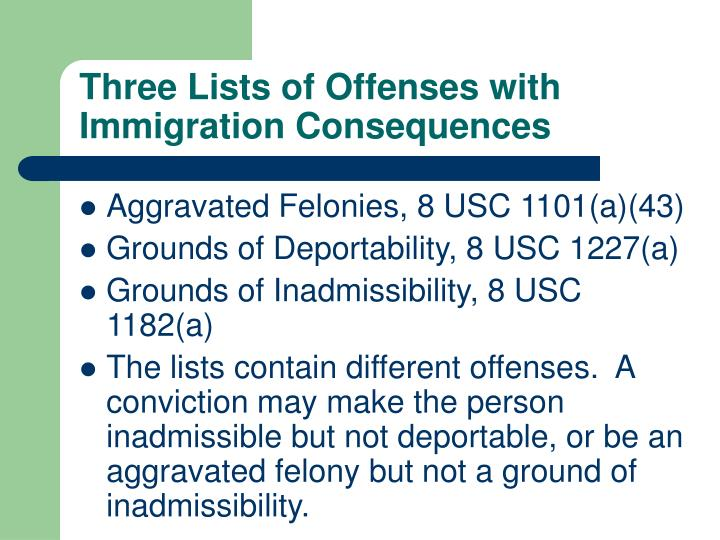 Three Lists of Offenses with Immigration Consequences
