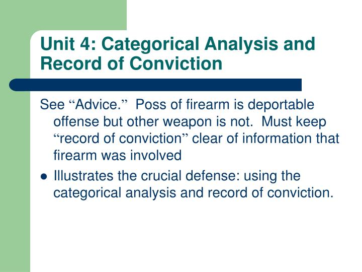 Unit 4: Categorical Analysis and Record of Conviction