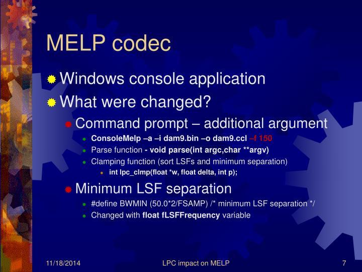 MELP codec