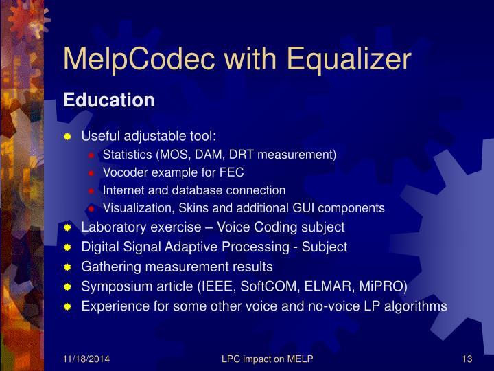 MelpCodec with Equalizer