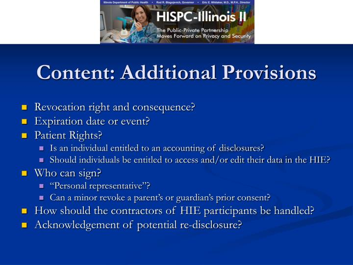 Content: Additional Provisions