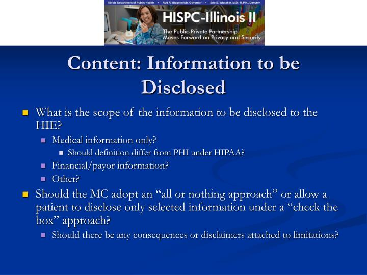 Content: Information to be Disclosed