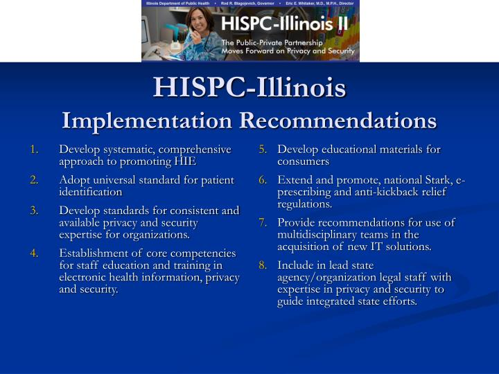 Hispc illinois implementation recommendations