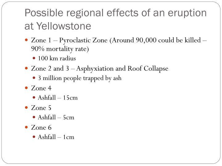 Possible regional effects of an eruption at Yellowstone