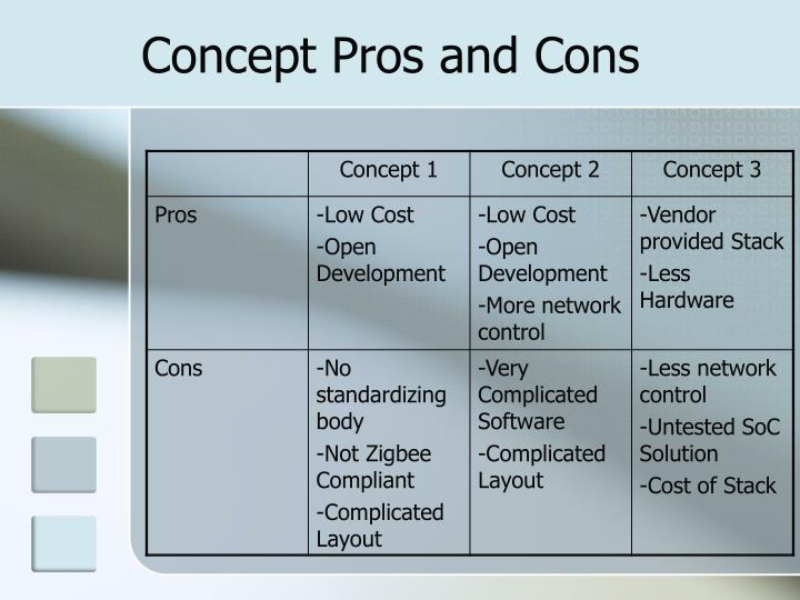 Concept Pros and Cons