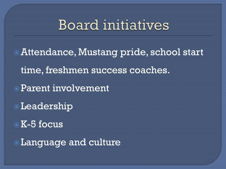 Board initiatives