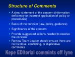 structure of comments