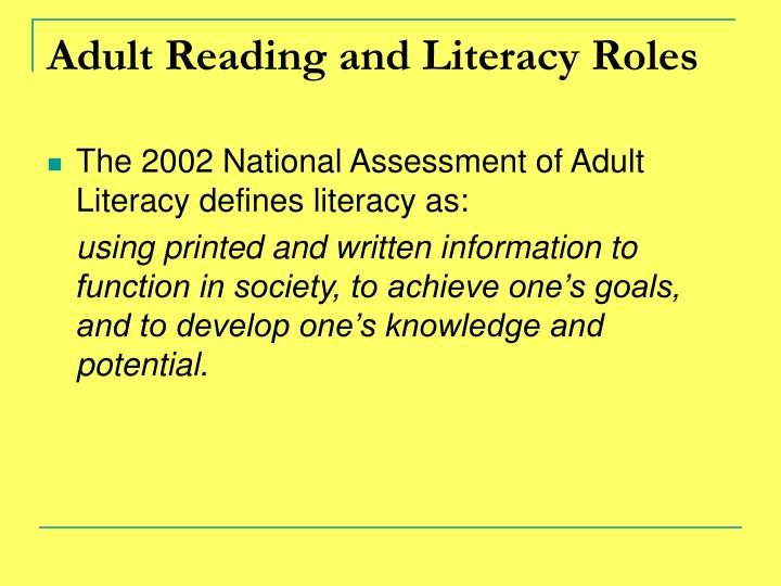 Adult Reading and Literacy Roles