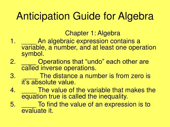 Anticipation Guide for Algebra