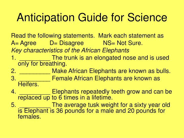 Anticipation Guide for Science