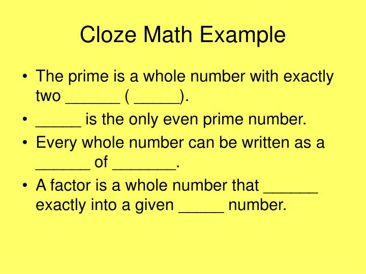 Cloze Math Example
