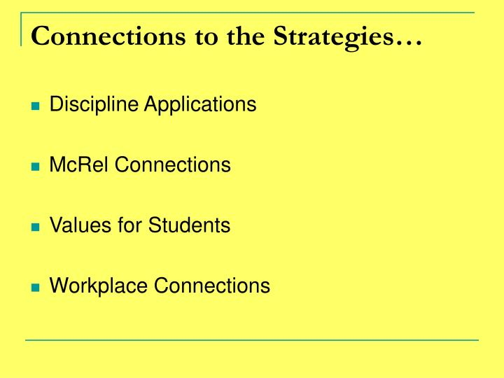 Connections to the Strategies…