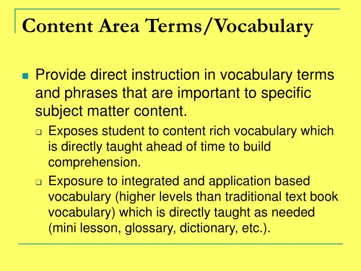 Content Area Terms/Vocabulary