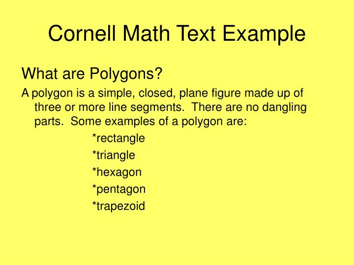 Cornell Math Text Example