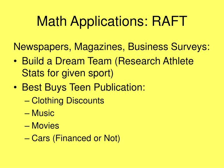 Math Applications: RAFT