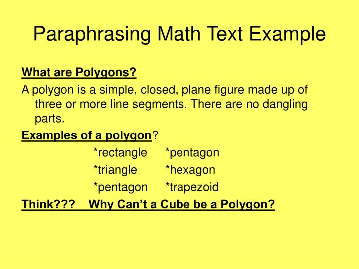Paraphrasing Math Text Example