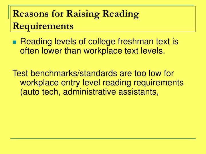 Reasons for Raising Reading