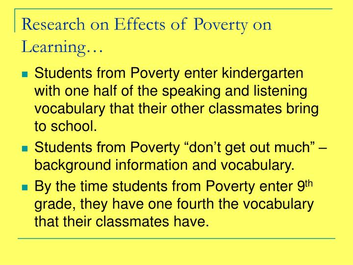 Research on Effects of Poverty on Learning…